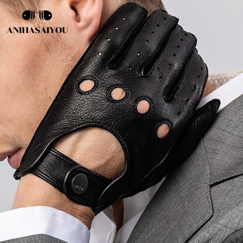 Autumn new Buckskin Genuine Leather gloves men locomotive motorcycle sports fitness non-slip leather - M045
