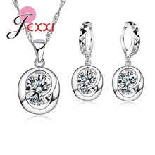 JEXXI Girl 925 Sterling Silver Jewelry Set Fashion Luxury Jewelry CZ Crystal Necklace Earring Pendant Bridal Wedding Accessories