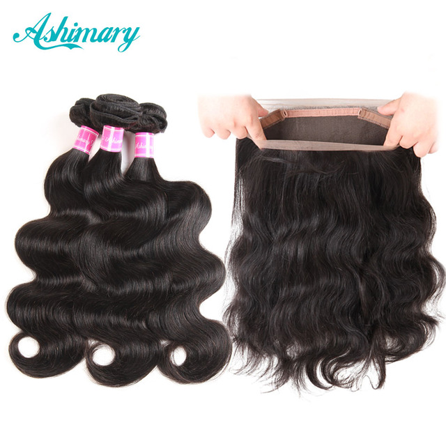 Ashimary 360 Lace Frontal Closure with Bundles Brazilian Body Wave Human Hair 360 Frontal with Baby Hair Non-Remy Hair Weaves