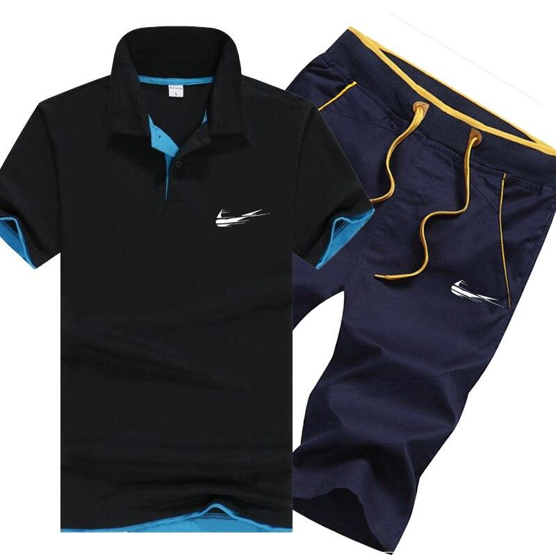 Tracksuit Men Brand Polo Suits Summer Top Short Set Men's Fashion 2 Pieces T-Shirt Shorts Moletom Masculino Sportsuits Set