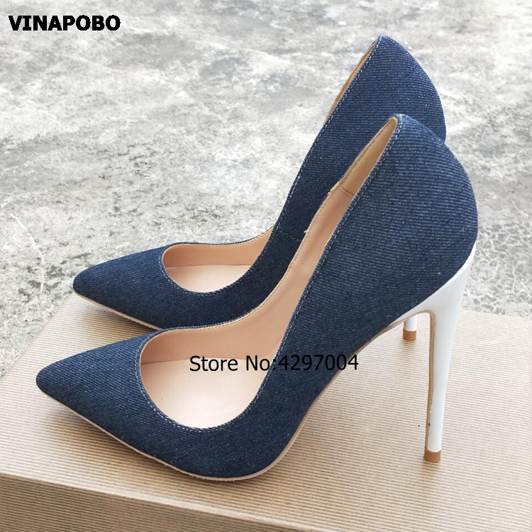 2019 Newest Denim Blue Shallow High Heel Shoes Sexy Pointed toe Woman Pumps Pink Stiletto Heel