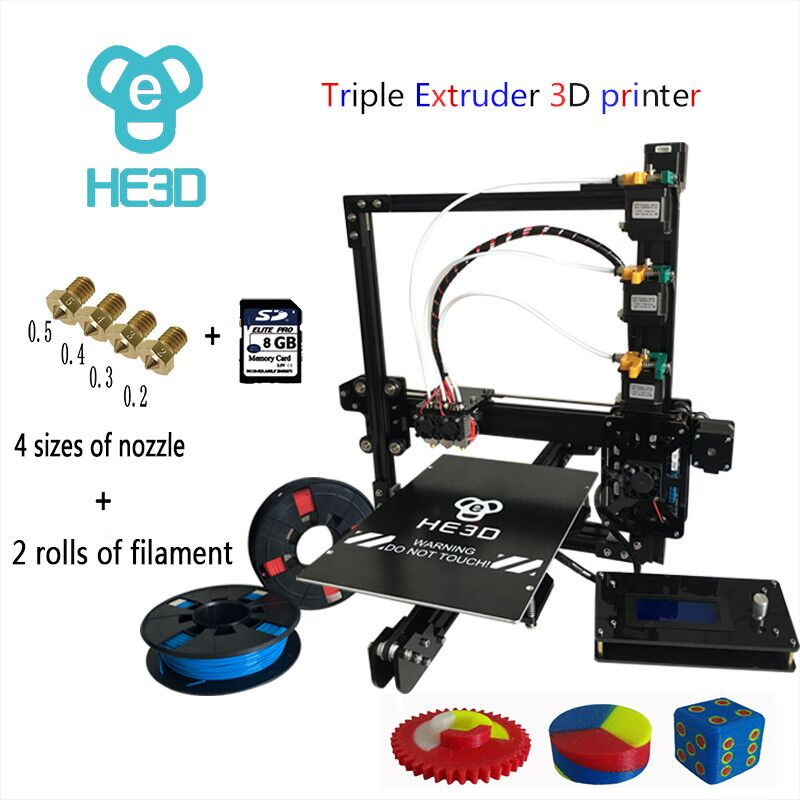 HE3D Reprap EI3-Tricolor  auto level large build area  triple extruder 3d printer diy kit support multi filament