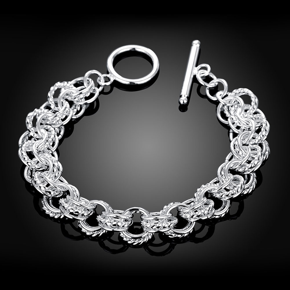 US $3 63 |Best Sale Christmas Gifts 925 sterling silver bracelet fashion  jewelry mens Geometric silver chain bracelets-in Charm Bracelets from  Jewelry