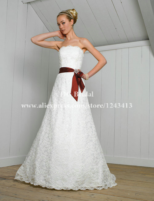 Free Shipping A Line Strapless Beaded Wedding Dress with Burgundy ...