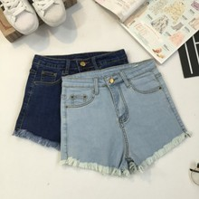 2016 Women's Fashion Brand Vintage Tassel  Ripped Loose High Waisted Short Jeans Punk Sexy  Woman Denim Shorts