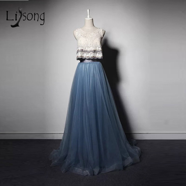 Elegant Navy Blue 2 Pieces Rustic Long Prom Dresses Lace Tank Tulle Skirts Pearls