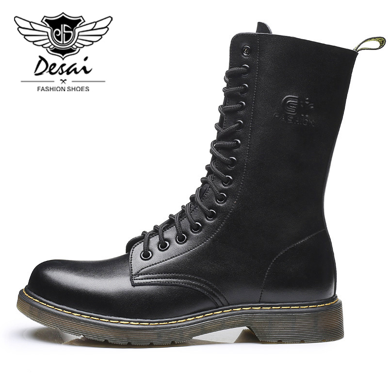 DESAI Brand Retro Men Shoes British Genuine Leather Martin Boots Men's Flat Boots Tooling Boots Motorcycle Boots Autumn Winter serene 2017 men boots camouflage tooling boots british male fashion trend desert boots lace up shoes autumn