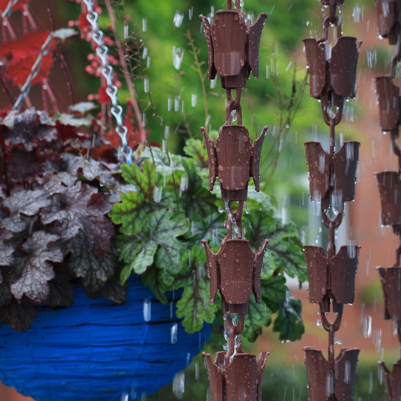 Garden Plastic Bronze Rain Chains Ring Drop Drainage Rainbell Villa Decoration Temple Gutters 3 Metre Length