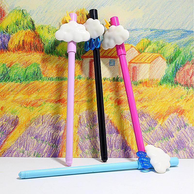 4Pcs Korean Creative Clouds Cute Gel Pen Stationery Store Kids Kawai Cute Ball Rollerball Stationary School Tool Thing Item Shop