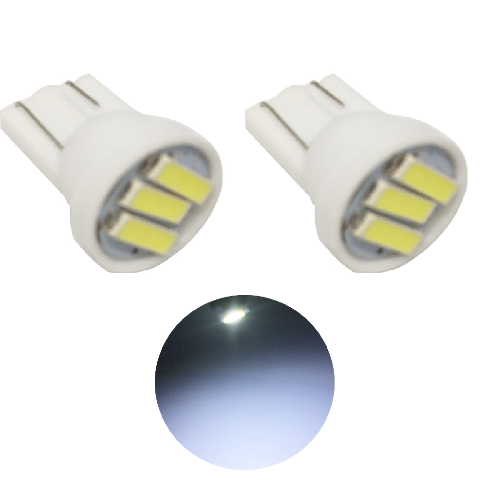 YSY 500pcs lot T10 3 SMD 7014 LED 3SMD 7020 1W White Blue W5W LED Wedge