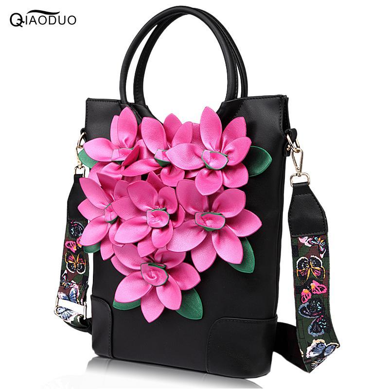 New Colorful Wide Straps Women's Handbag Flowers Folk Style Retro Handbag Portable Totes PU Leather Large Capacity Crossbody Bag 1 5cm wide luxuriant flowers