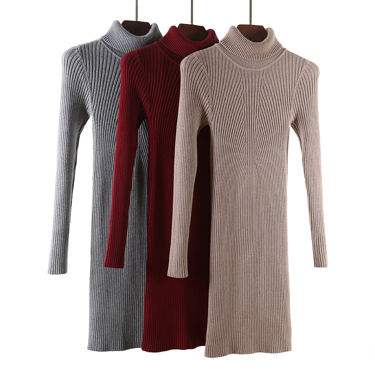 122dd36b991cb Aliexpress.com : Buy Women Casual High Neck Knitted Rib Dress Office Lady  Knit Mini Dresses from Reliable mini dress suppliers on Shanghai lanhan  trading ...