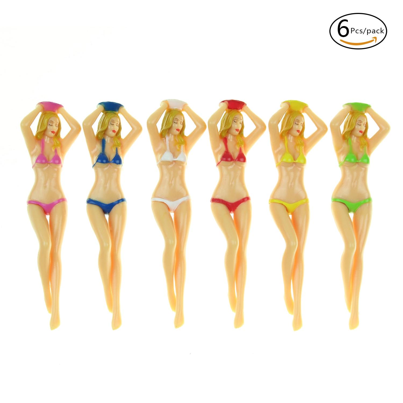 CRESTGOlf Womens Plastic Golf Tees Accessories,6pcs/pack Size 76mm(3inch) Sexy Bikini Tees Gift Newest Design Plastic Golf Tees