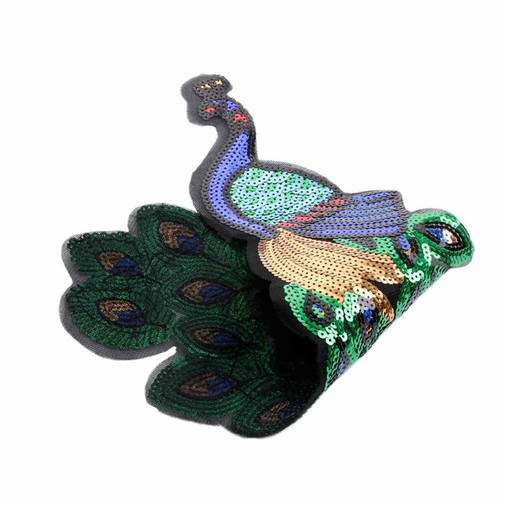 Colorful Sequin Del Pavone Del Ricamo Grande In Tessuto di Patch Applique Africano Del Merletto Cucire Stoffa Del Vestito Decorare Accessori Fai Da Te 1 pz