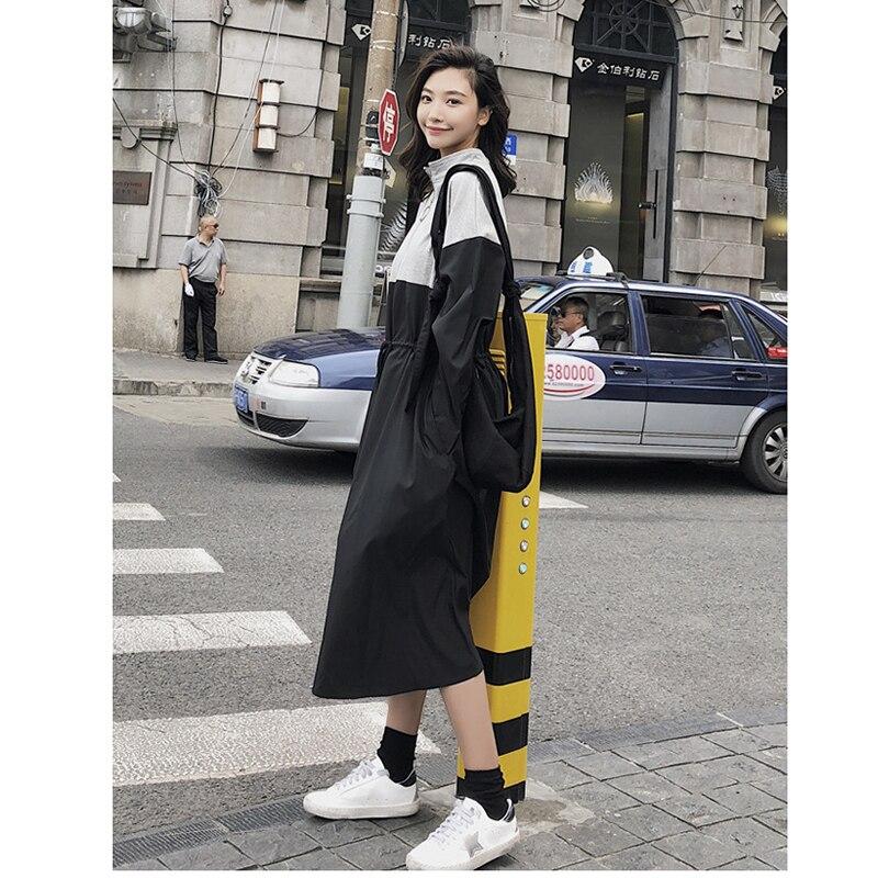 Cordon Coréen Manteau Chic 2018 Lâche Automne Printemps Black Feminino Patchwork Trench Tranchée Taille Femme Pardessus Femmes 7xnYU