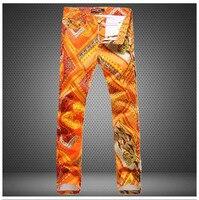 2016 di marca di modo degli uomini di hip hop pantaloni diritti casuali vernice pop slim sexy discoteche sottile stampato fiore uomini di colore arancione pantaloni