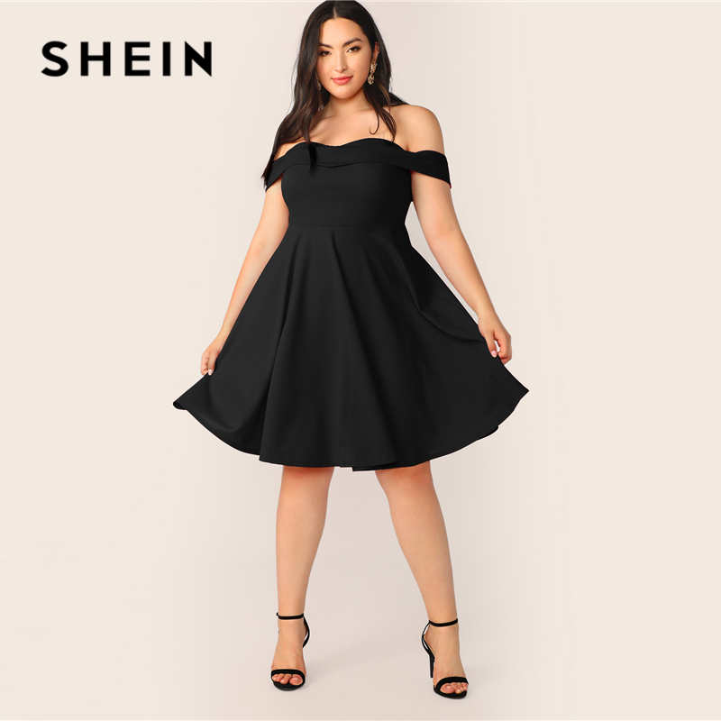 SHEIN Plus Size Off Shoulder Foldover Skater A Line Dress 2019 Women Summer Elegant Sweetheart High Waist Solid Plus Dresses