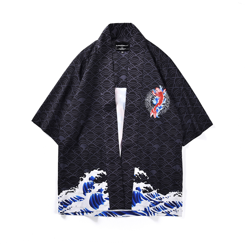 Kimono homme chemise de grande taille vetement japonais Kimono Cardigan motifs nuage totem imprimé Harajuku noir Gaid vetement femme