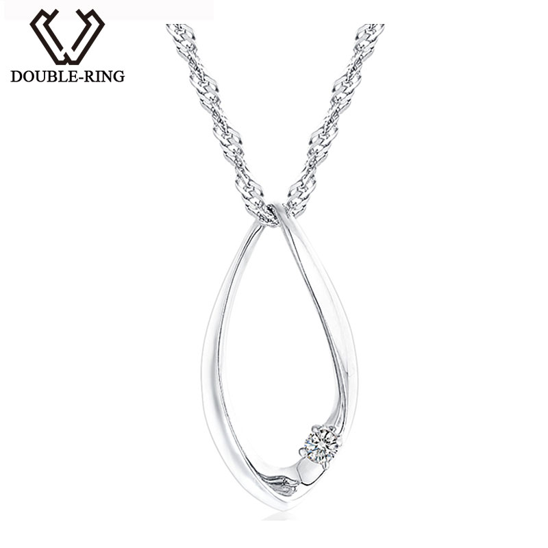DOUBLE-R Solid 925 Sterling Silver Necklaces Pendants Women 0.03ct Diamond Water Drop Pendants Birthday Gift Diamond-Jewelry double r women necklace pendants 0 03ct diamond 925 sterling silver pendants with long chains diamond jewelry cap03755sa 1
