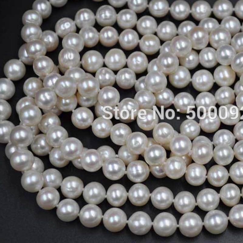 free shipping Fine 70 9mm near round  freshwater pearl necklacefree shipping Fine 70 9mm near round  freshwater pearl necklace