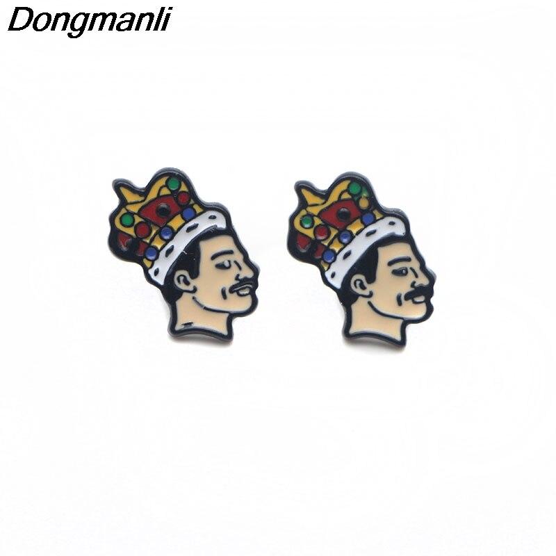 P3079 Wholesale 20pair lot Singer band Music Art Freddie Mercury Pierce Ear Stud Cute Earrings For
