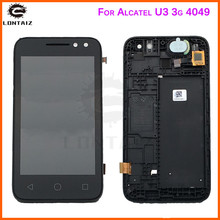 new black for alcatel u3 3g 4049 4049D 4049G Full LCD Display Panel Touch Screen Digitizer Glass Assembly With Frame Replacement цена