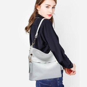 Image 3 - Zency 100% натуральная кожа, Очаровательная женская сумка на плечо с кисточкой, модная женская сумка мессенджер через плечо, сумочка черного и белого цвета