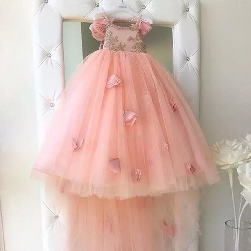 2018 Holy Communion   Flower     Girls     Dress   Spaghetti Handmade Pink Long   Flowers     Flower     Girls     Dresses   For Weddings Lace Tulle