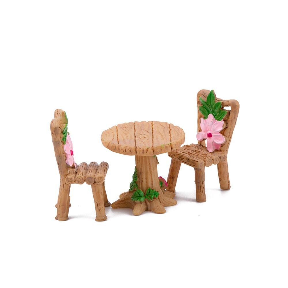 3Pcs/set Micro Landscape Ornaments Resin Cute Table Chair Fairy Garden Landscape Miniature Figurine Decoration Craft