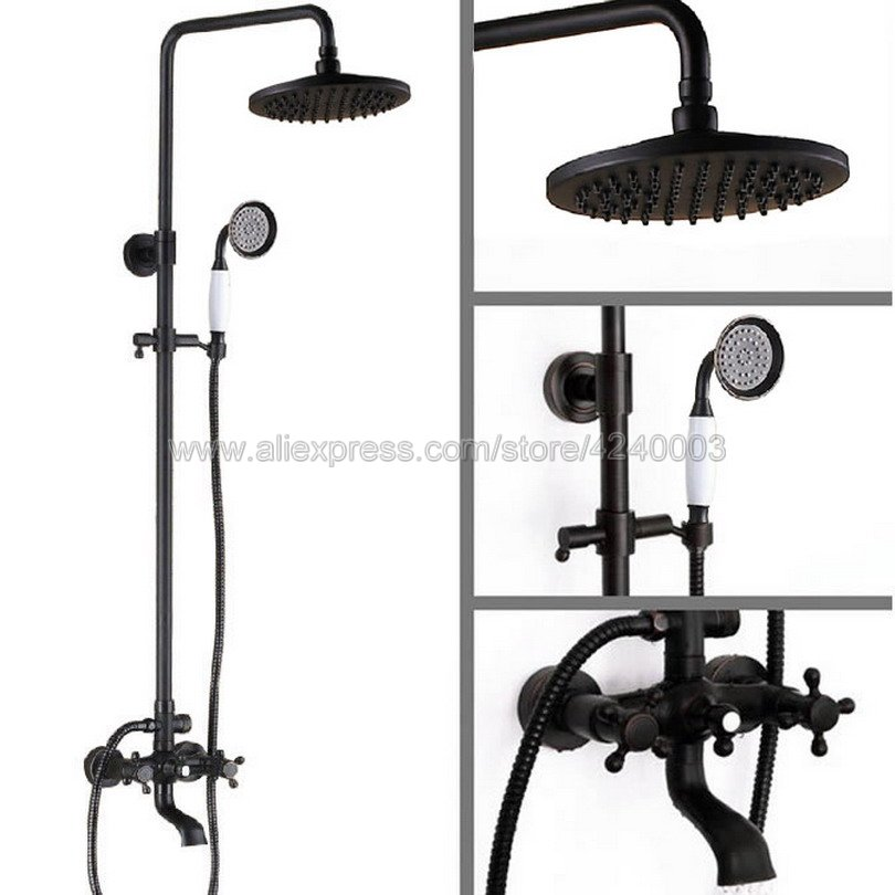Black Oil Rubbed Bronze Wall Mounted Shower Faucet Bathroom Rainfall Shower System Set Faucet Tub With Handheld Sprayer Krs382