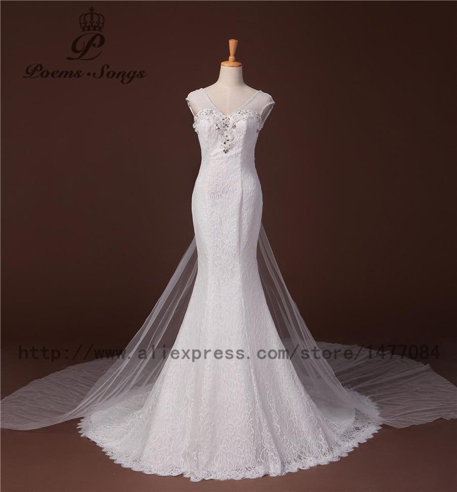 Valódi fotó100% Luxus egyedi 2016-os selymes csipke és szexi meztelen hableány esküvői ruhák vestidos de noiva robe de mariage