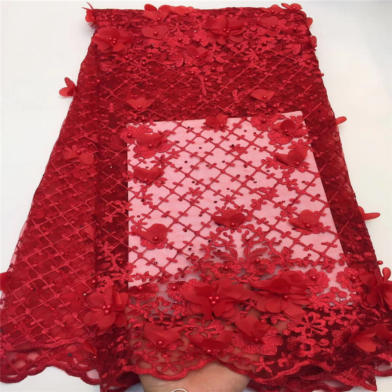 2018 New style Red French net lace fabric 3D flower African tulle mesh lace fabric high quality nigerian lace fabrics HJ1494-1 2018 New style Red French net lace fabric 3D flower African tulle mesh lace fabric high quality nigerian lace fabrics HJ1494-1
