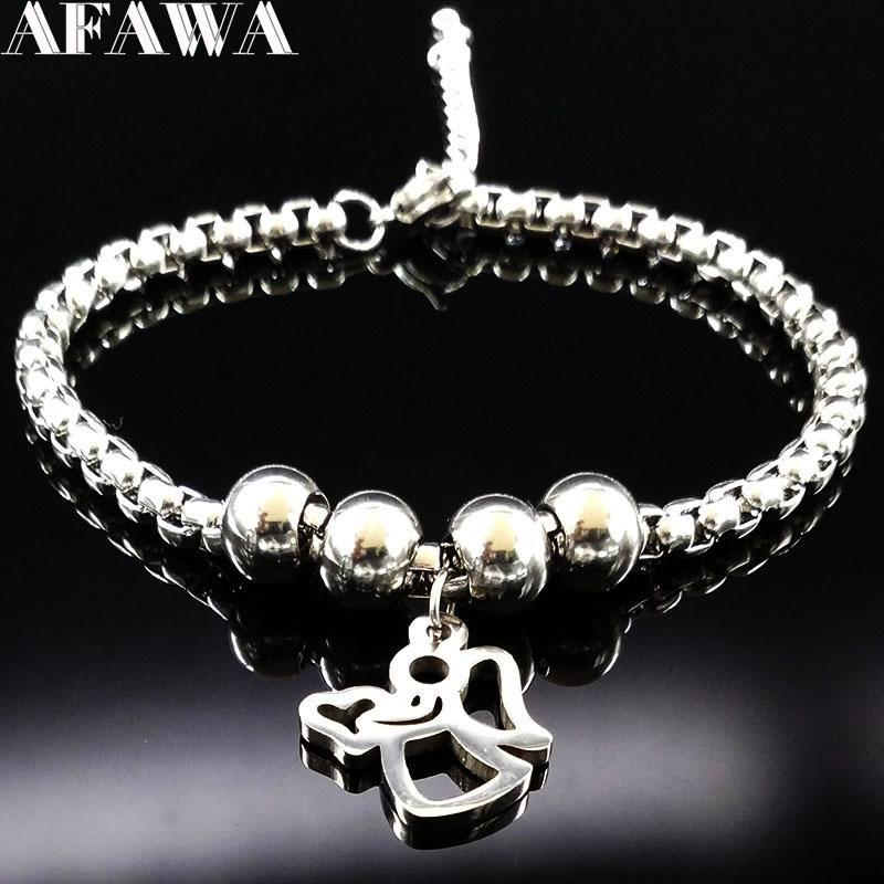 2018 Fashion Angel Stainless Steel Bracelet for Women Plated Silver Stainless Steel Bead Bracelet Jewelry pulsera BB1101C