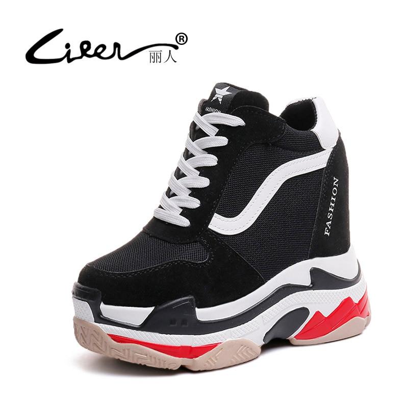 Liren Lace Up Women Casual Shoes Height Increasing Platform Flats Women Shoes 2018 Fashion Sneakers Female Wedges Black Shoe