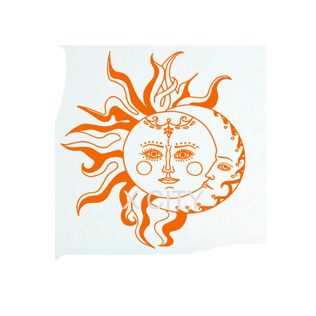 Wall Decal Sun Moon Sticker Crescent Ethnic Symbol Decal Bedroom