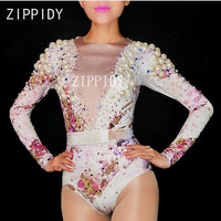 New Style Big Pearls Rhinestones Flowers Stretch Bodysuit Women's Birthday Party Sexy Outfit Female Singer Dance Show Wear