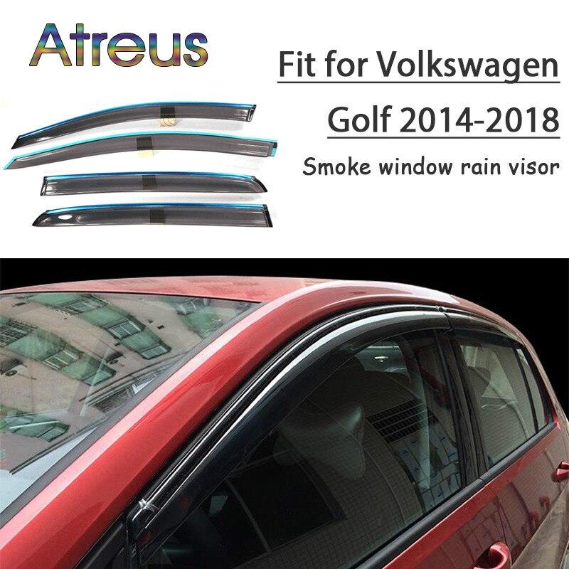 Atrée 1 set ABS Pour Volkswagen Golf 7 Mk7 VW Golf 7 2018-2014 Accessoires De Voiture Évent Déflecteurs Soleil garde Fumée Fenêtre Pare-Pluie