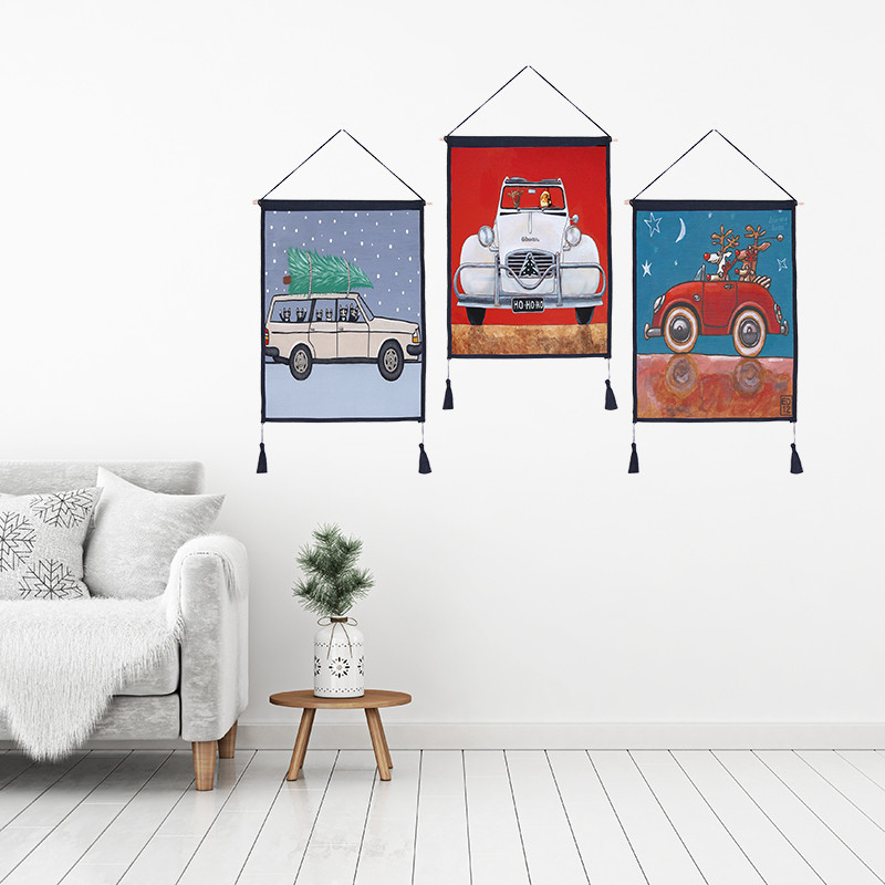 Car Dog 2 Tapestry Hanging Wall Cloth Landscape Wall 45*65cm Art tapisserie painting tapestry boho home decoration accessories