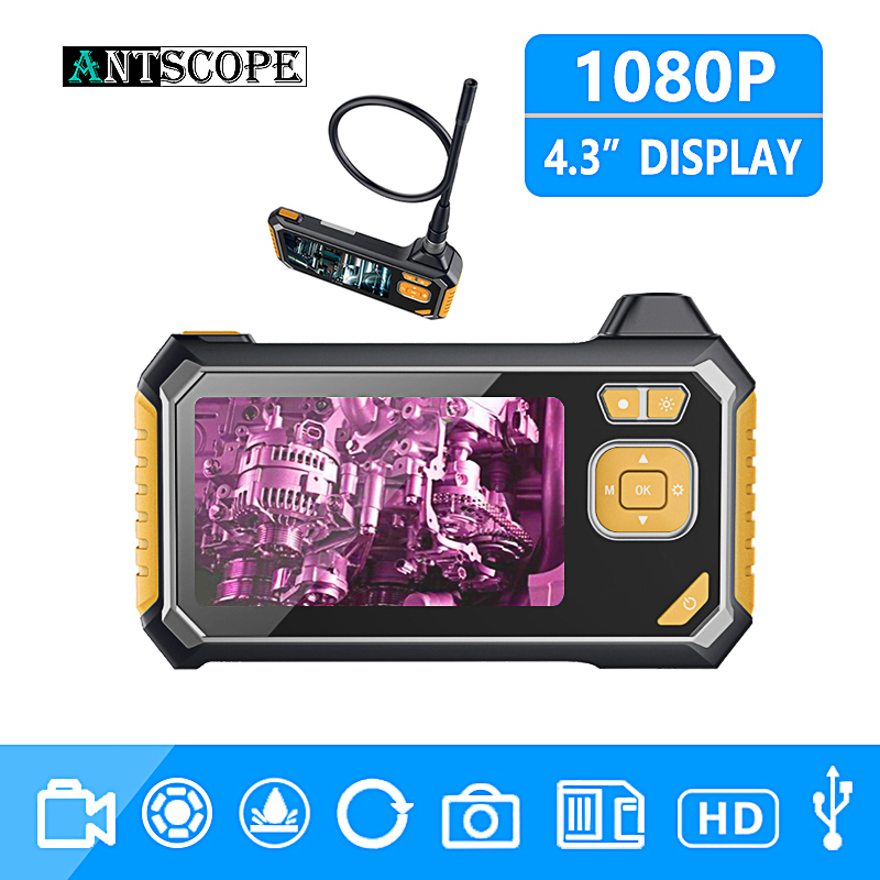 Antscope 1080P HD 8mm Industrial Endoscope 4 3 Inch Auto Repair Inspection Camera Endoscope Lithium Battery