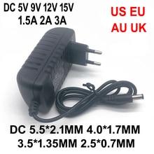 DC 5 V 9 V 12 V 15 V 1.5A 2A 3A مهايئ طاقة شامل AC 100 240 V تحويل محول شاحن التيار الكهربائي الاتحاد الأوروبي الولايات المتحدة الاتحاد الافريقي المملكة المتحدة التوصيل