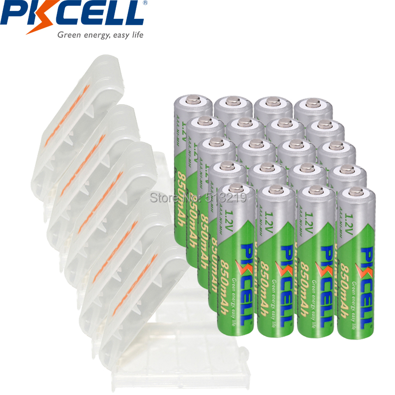 20pcs PKCELL AAA Battery 850mAh 1.2V NI-MH AAA Low Self Discharge 3A Rechargeable Batteries And 5pcs Battery Box Holder AA/AAA