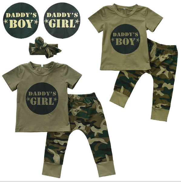 2018 Summer Style Baby Boys Girls Clothing Sets Short-sleeved Letter Printed T-shirt+Camouflage Pants Infant Newborn Clothes