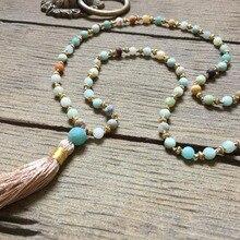 Shinus Boho Necklace Amazonite Mala Necklaces Statement Women Tassel Long Chakra Meditation Jewelry Bohemia 2018 Jewellery Gifts