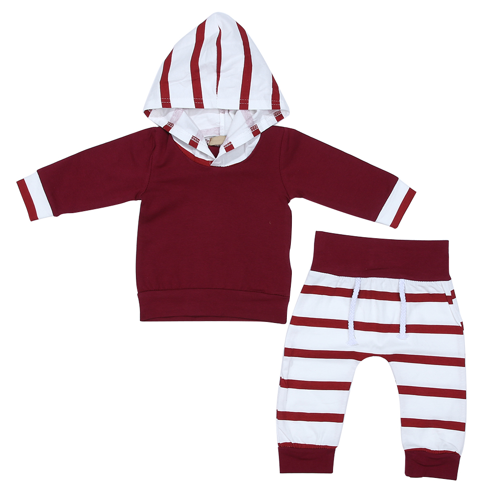 For 0-24M Infant Baby Boys Girls Clothes Wine Red Solid Hoodies Tops+Stripe Pants Clothes Suits Cotton Baby Clothing Set