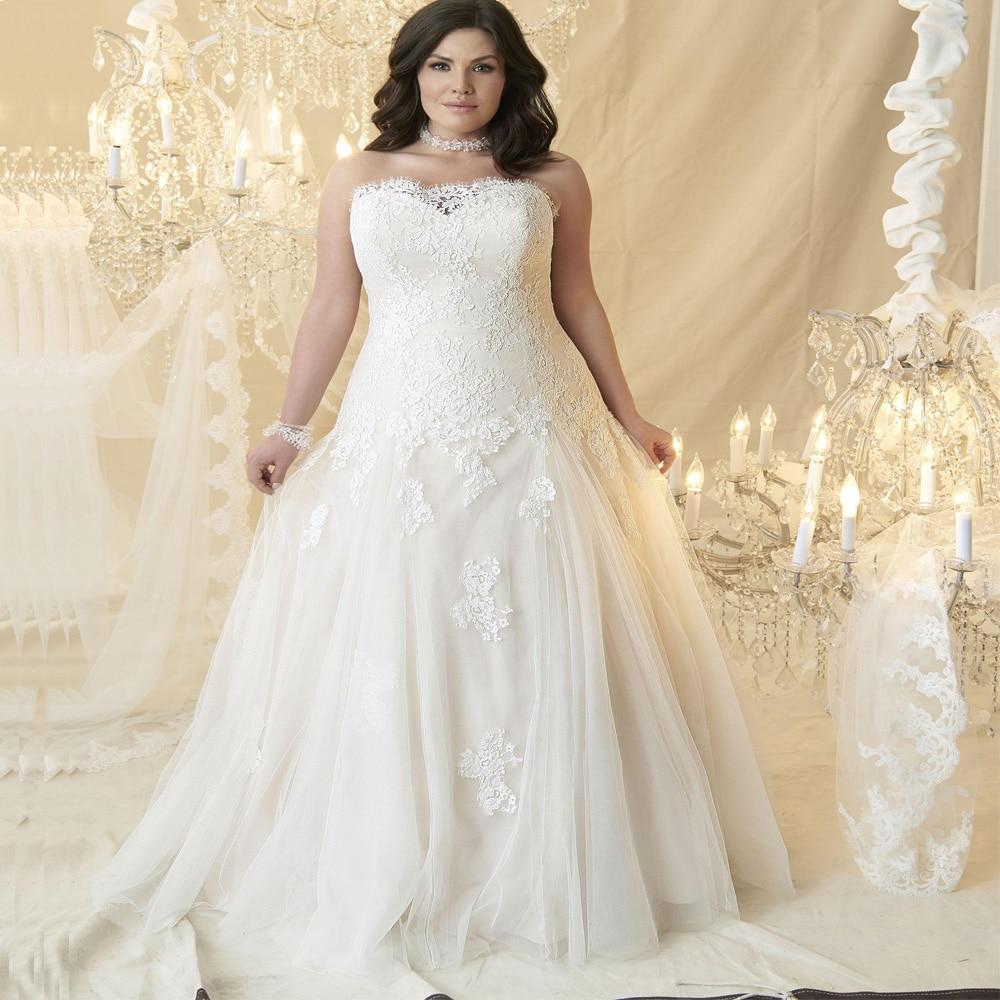 Plus Size Wedding Dress Sweetheart Sleeveless Lace Applique Corset Wedding Dresses Robe De Mariage Custom US2 To US28w