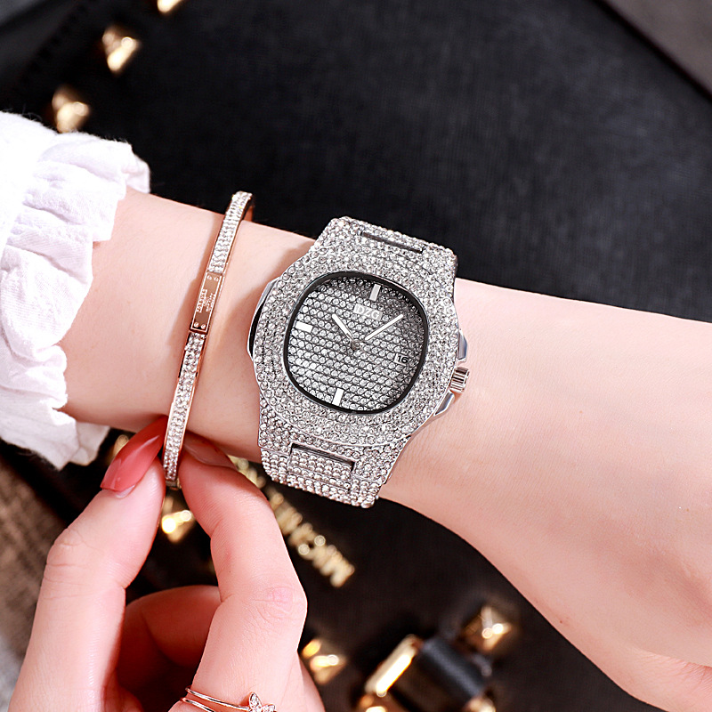 Golden Silver Pink Fashion Quartz Square With Stars Like Bright Diomand Watch With Wrist Belt