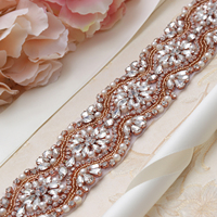 MissRDress Hand Beaded Wedding Belt Rose Gold Crystal Bridal Belt Rhinestone Embellished Bridal Sash For Wedding Long Gown JK812