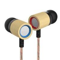 KZ ED7 Bamboo Wood Stereo Earphones With HD Microphone 3 5mm HiFi Earphone In Ear Phone