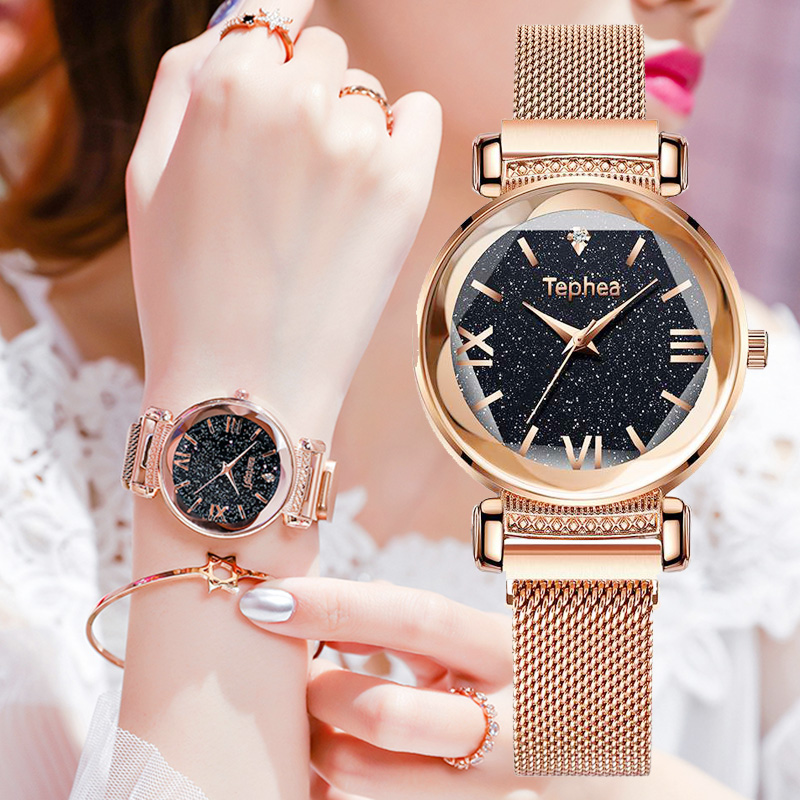 Luxury Women Watches Tephea Brand Fashion Ladies Starry Sky Watch Magnet Flowers Surface Watch Women Box Bracelet Set For Gift in Women 39 s Watches from Watches