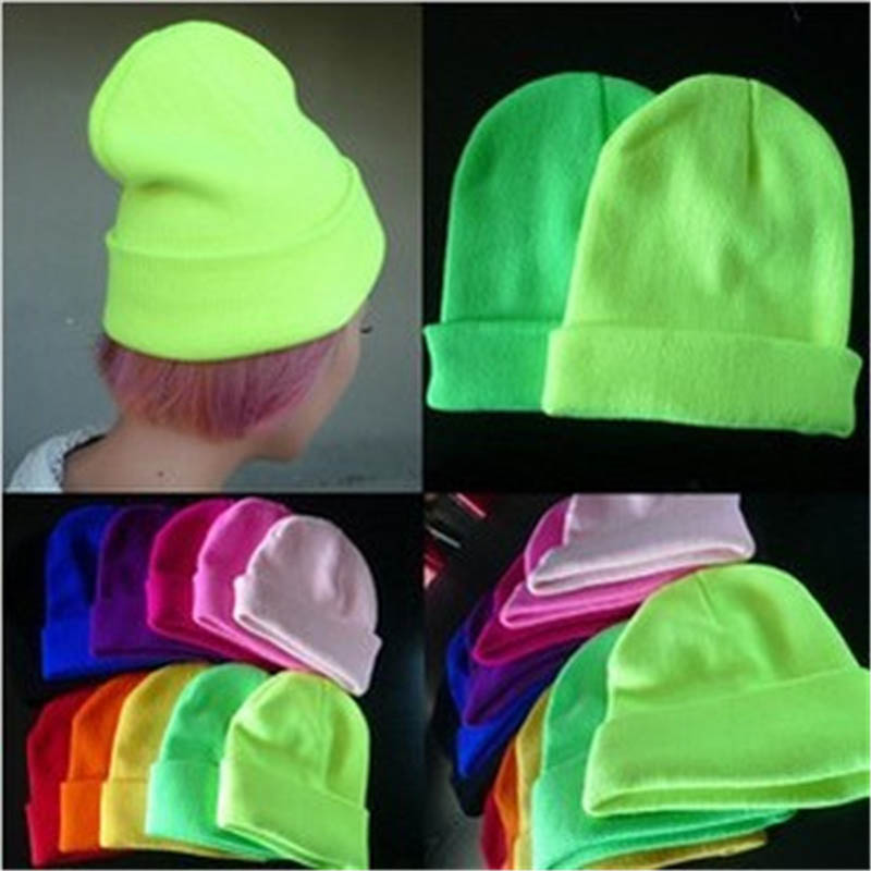 2017 Fashion 28 Colors Knitted Neon Women   Beanie   Girls Autumn Casual Elastic Cap Women's Warm Winter Hats Unisex Gorros Hombres